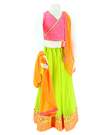 Pixi Net Lehenga With Wrap Around Blouse & Dupatta - Pink