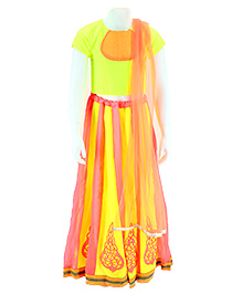 Pixi Lehenga With Dupion Yoke Blouse & Dupatta - Pink Green & Orange