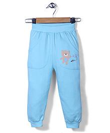 Babyhug Full Length Leggings Teddy Print - Blue