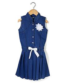 Bleeding Blue by Babyhug Sleeveless Frock Flower Applique - Blue