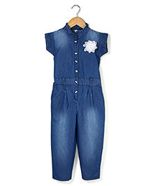 Bleeding Blue by Babyhug Jumpsuit Flower Applique - Blue