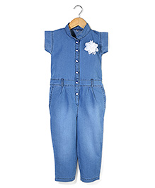 Bleeding Blue by Babyhug Jumpsuit Flower Applique - Blue