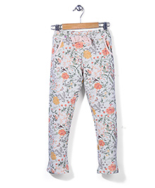 Mothercare Full Length Pant Floral Print - Grey