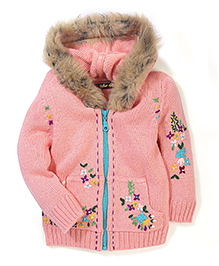 Yellow Apple Floral Knit Hooded Sweater - Pink
