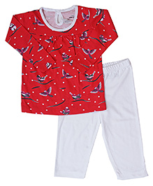 Earth Conscious Long Sleeves Organic Cotton Night Suit - White Red