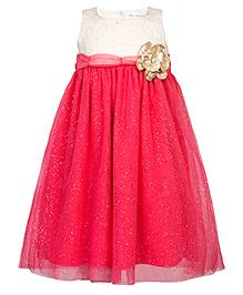 Soul Fairy Yoke Shimmer Net Dress - Coral Red