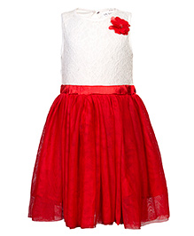 Soul Fairy Flared Dress With Waist Band - Off White & Red