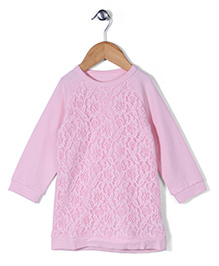 Mothercare Full Sleeves Brushed Back Lace Dress - Light Pink