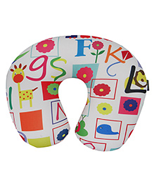 Orka Alphabets Digital Printed U Neck Pillow Filled With Micro Beads