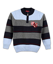 Lilliput Kids Full Sleeves Striped Sweater - Blue and Black
