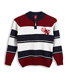 Lilliput Kids Full Sleeves Striped Sweater - Red and White