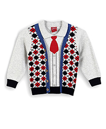 Lilliput Kids Full Sleeves Collared Cardigan - Grey
