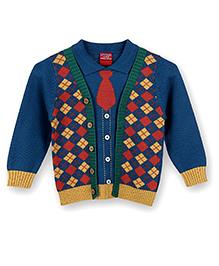 Lilliput Kids Full Sleeves Collared Cardigan - Blue