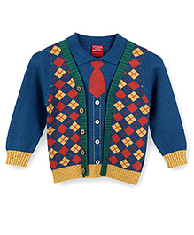 Lilliput Kids Full Sleeves Collared Cardigan - Blue