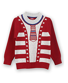 Lilliput Kids Full Sleeves Mock Tie And Cardigan Design Sweater - Cherry Red