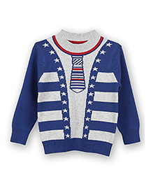 Lilliput Kids Full Sleeves Mock Tie And Cardigan Design Sweater - Blue