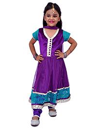 Kilkari Half Sleeves Kurti Churidar With Dupatta Sequin Work - Purple