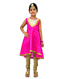 Kilkari Sleeveless Kurti Churidar With Dupatta - Pink Brown