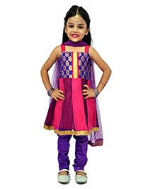 Kilkari Sleeveless Kurti Churidar With Dupatta - Purple Pink