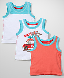Mothercare Sleeveless Vest Pack Of 3 - White & Orange