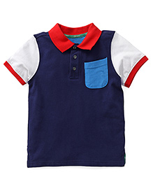 Mothercare Half Sleeves Polo T-Shirt - Navy & White