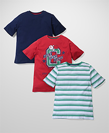 Mothercare Half Sleeves T-Shirt Pack Of 3 - Red Green Navy