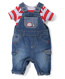 Mothercare Striped Onesie With Dungaree Style Romper - Red & Blue