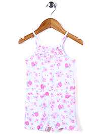 Mothercare Singlet Jumpsuit Allover Floral Print - White & Pink