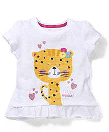 Mothercare Half Sleeves T-Shirt Little Leopard Print - White
