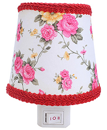 Night Lamp Rose Flowers Print - Pink And Yellow