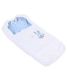 Montaly Baby Sleeping Bag Little Cute Embroidery - White & Blue