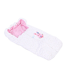 Montaly Baby Sleeping Bag Little Cute Embroidery - White & Pink