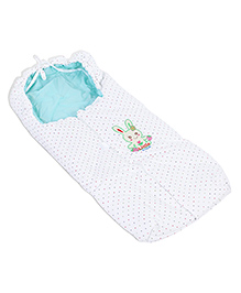 Montaly Baby Sleeping Bag Little Cute Embroidery - White & Green