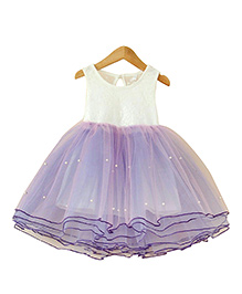Tiny Closet Princess Party Dress Accentuated With Pearls - Purple