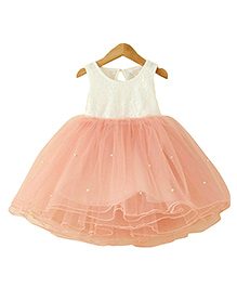 Tiny Closet Princess Party Dress Accentuated With Pearls - Peach