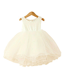 Tiny Closet Princess Party Dress Accentuated With Pearls - White