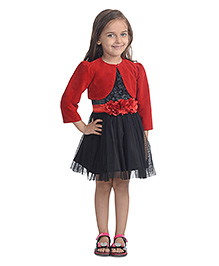 Toy Balloon Sleeveless Party Wear Frock With Shrug - Black