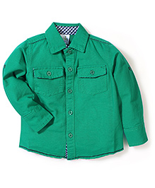 Babyhug Full Sleeves Plain Shirt - Green