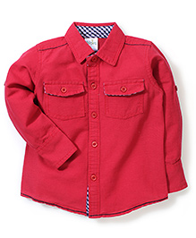 Babyhug Full Sleeves Plain Shirt - Red