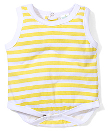 Babyhug Sleeveless Stripe Onesie - White Yellow