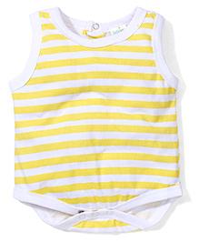 Babyhug Sleeveless Stripe Onesie - White Yellow