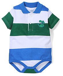 Babyhug Half Sleeves Onesie Whale Print - Green Blue White