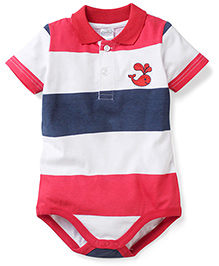 Babyhug Half Sleeves Onesie Whale Print - Red Blue White