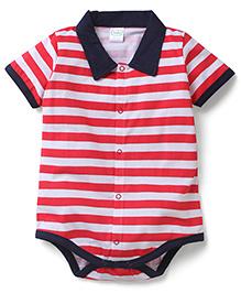 Babyhug Half Sleeves Onesie Stripes Print - Red and Blue
