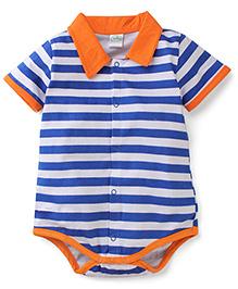 Babyhug Half Sleeves Onesie Stripes Print - White and Blue