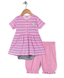 Babyhug Half Sleeves Frock With Onesie And Leggings - Pink