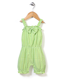 Babyhug Sleeveless Chevron Romper Bow Applique - Green