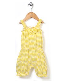 Babyhug Sleeveless Chevron Romper Bow Applique - Yellow