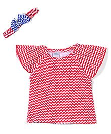 Babyhug Short Sleeves Chevron Top With Headband - Red