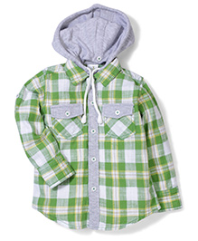 Babyhug Full Sleeves Hooded Check Shirt - Green